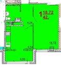 1-комнатная квартира в новостройке, ул. Чапаева 14 а, 42.70/19/10 м2, ., Купить квартиру в Белгороде по недорогой цене, ID объекта - 317368934 - Фото 2