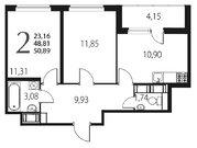 Продажа 2-комнатной квартиры, 50.89 м2 - Фото 2