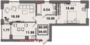 Двухкомнатная квартира классической планировки - Фото 1
