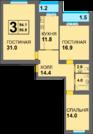 3-комнатная квартира в готовом доме, Купить квартиру в новостройке от застройщика в Калининграде, ID объекта - 322991692 - Фото 2
