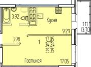 1-комнатная квартира 35 кв.м. 6/11 кирп на ул. Рауиса Гареева, д.102к2