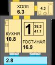 1 990 600 Руб., 1-комнатная квартира в готовом доме, Купить квартиру в новостройке от застройщика в Калининграде, ID объекта - 322991820 - Фото 2
