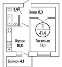 Продам 1 ком. кв 41.5 м 2, ЖК Волгарь