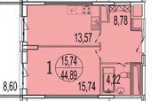 Просторная однушка с огромным балконом в новом доме в Реутове за 4,6!