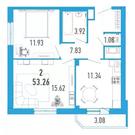 2-х к. квартира 53 м2 в ЖК Витамин в Мурино за 2.570.000