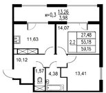 Продажа 2-комнатной квартиры, 55.18 м2, Серебристый б-р, д. 19, к. д. .
