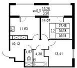 Продажа 2-комнатной квартиры, 59.16 м2, Серебристый б-р, д. 19, к. д. .