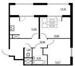 Продажа 2-комнатной квартиры, 54.50 м2, Серебристый б-р, д. 19, к. д. .