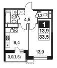 1-к квартира, 33,5 кв.м, 6/16 эт.