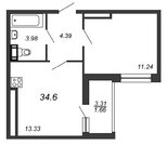 Продажа 1-комнатной квартиры, 34.6 м2 - Фото 2