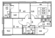 Продажа 2-комнатной квартиры, 58.94 м2, Серебристый б-р, д. 19, к. д. .