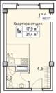 Продаётся 1- комнатная квартира Студия в ЖК Восточная Европа